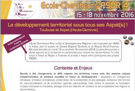 Couverture copte-rendu Ecole-Chercheur PSDR4